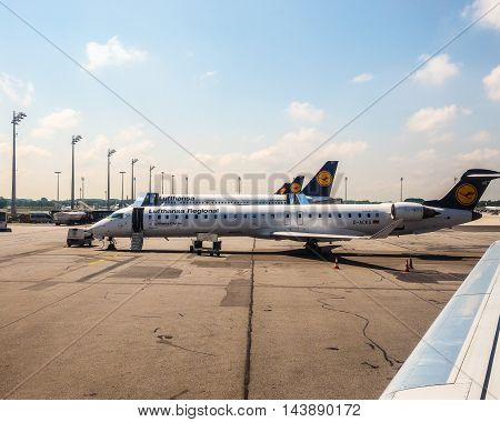 Lufthansa Planes At Airport In Munchen (hdr)