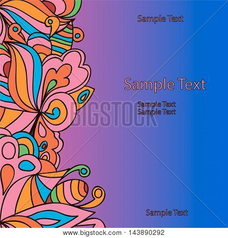Flat style vector illustration with leaves and curls. Bright romantic backgrounds. This image can be used for a greeting card valentine or the wedding invitation.