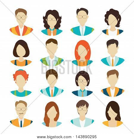 Character cartoon of office worker business personnel avatar icons set isolated vector illustration.