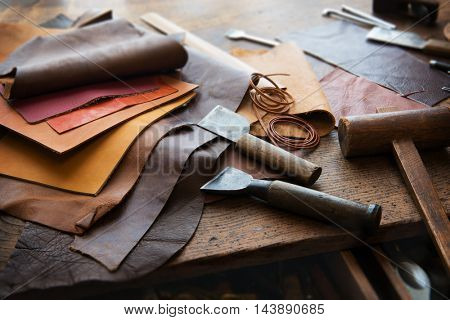 Leather craft leather working image photo bigstock for Leather sheets for crafting
