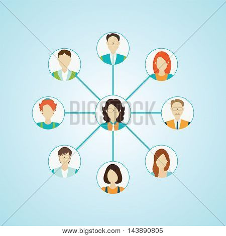 Connecting people icons set isolated Character cartoon social media conceptual vector illustration.