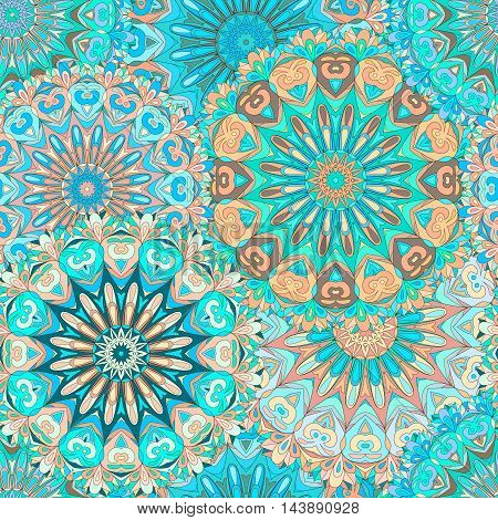 Colorful seamless pattern mandala can be used for wallpaper pattern fills web page background surface textures. Arabic India Islam.