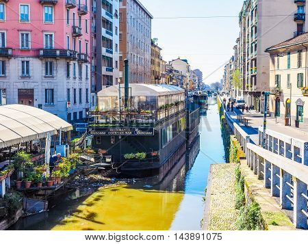 Naviglio Canal In Milan (hdr)