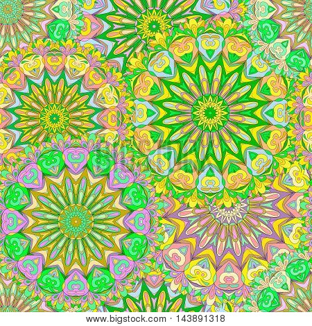 Colorful seamless pattern mandala, can be used for wallpaper, pattern fills, web page background, surface textures. Arabic, Indian, Islam, Asia. Happy pattern design.