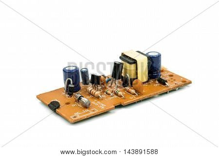 Radio-board power components on a white background