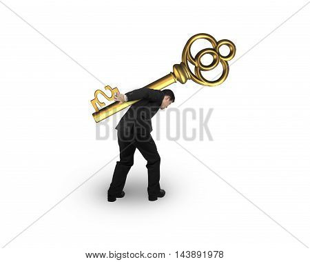 Businessman Carrying Golden Treasure Key In Dollar Sign Shape