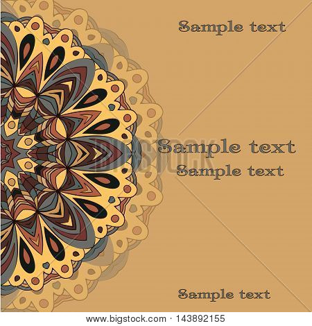 Flat style vector illustration with mandala. Bright romantic backgrounds. This image can be used for a greeting card valentine or the wedding invitation.