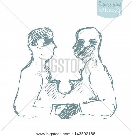 Two puzzle shaped human heads. Handshake of businessmen. Success, dealing, partnership. Concept vector illustration, sketch