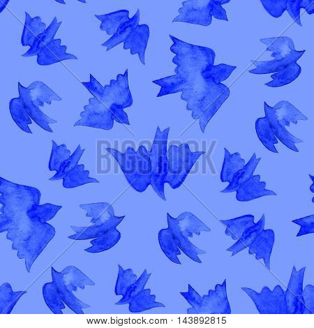 Watercolor blue birds seamless pattern on blue background.