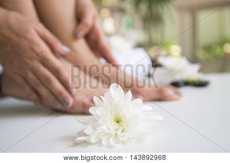 Spa treatment and product for female feet spa, Thailand. Select and soft focus