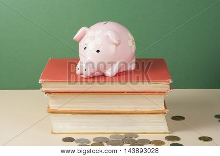 Pink Piggy bank top on books. Costs of education Concept.
