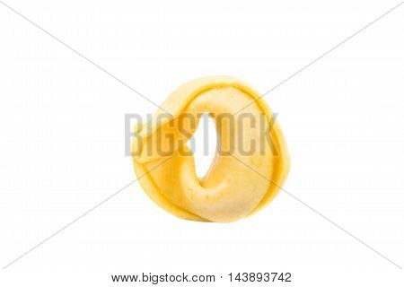 italian traditional cooking tortellini on a white background