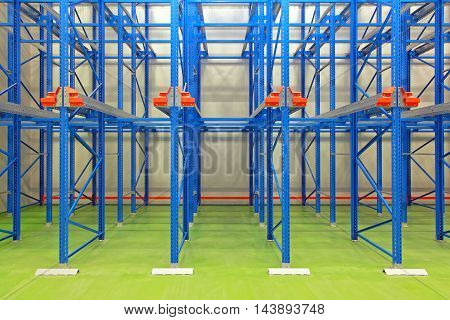 Empty Blue Shelves in New Distribution Warehouse