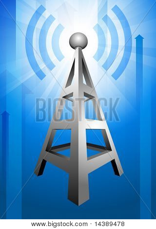 Radio on Blue Arrow Background Original Vector Illustration