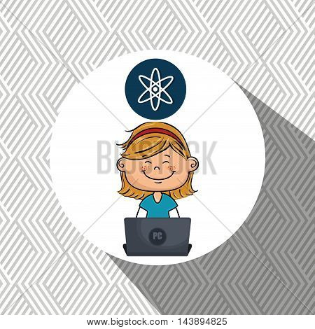 girl atom laptop idea vector illustration design
