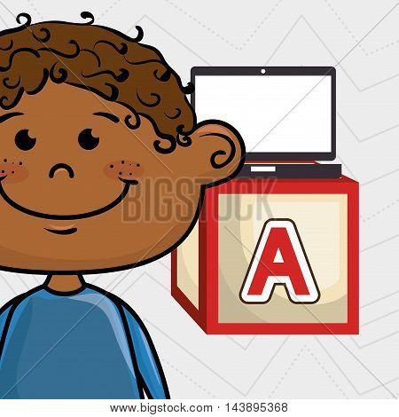 boy laptop cube icon vector illustration design