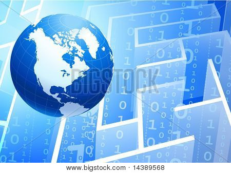Globe on Binary Code maze Background Original Vector Illustration