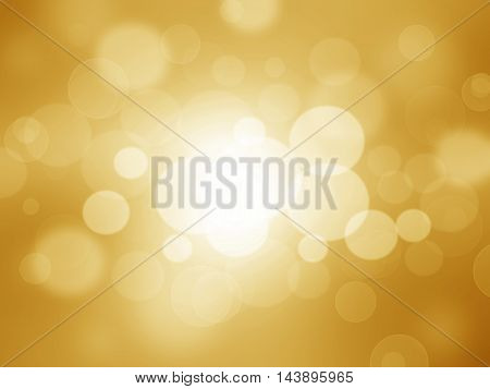 Gold bokeh abstract light background holiday card.