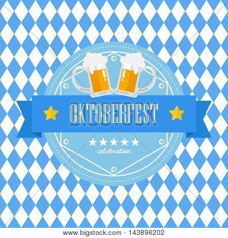 Beer festival Oktoberfest badge on blue rhombus background. Vector illustration