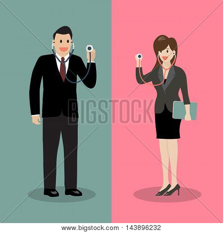 Businessman and woman holding stethoscope. Business concept