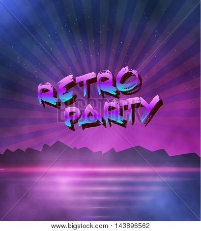 Illustration of Neon Style Background. 1980 Neon Poster Illustration. Retro Disco 80s Background with Triangles, Flares, Partickles