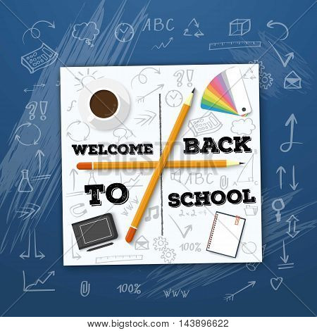 Illustration of Welcome Back to School Vector Mockup. White Notepad on Writing Board with Handdrawn Icons