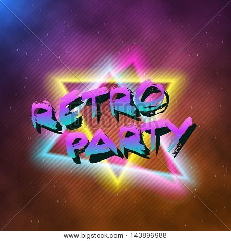 Illustration of 1980 Retro Party Neon Poster Retro Disco 80s Background made in Tron style with Triangles, Flares, Partickles