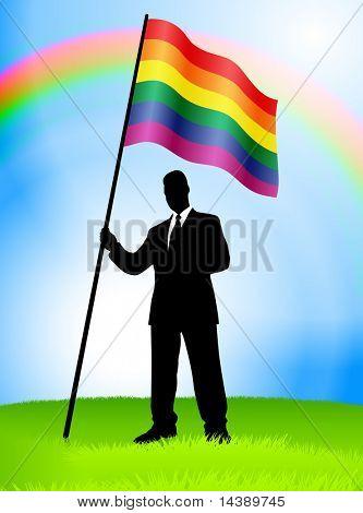 Businessman Leader Holding Gay Flag Original Vector Illustration EPS10
