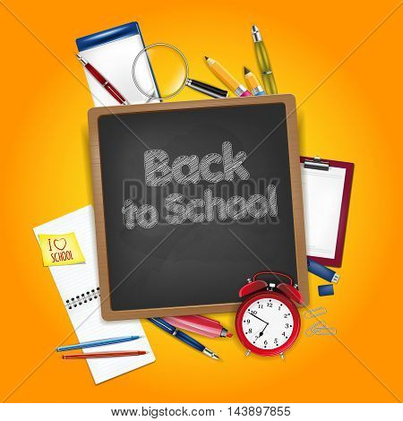 Back To School Concept - School Accessories And Chalkboard