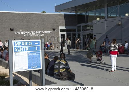 SAN YSIDRO CALIFORNIA USA - AUGUST 20 2016: The new San Ysidro PedWest land port of entry gives travelers another option when crossing the border from Mexico to the U.S.