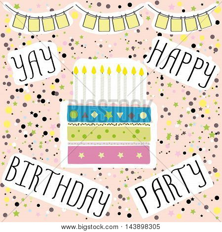 Happy birthday party cute card with cake and candles. Vector illustration