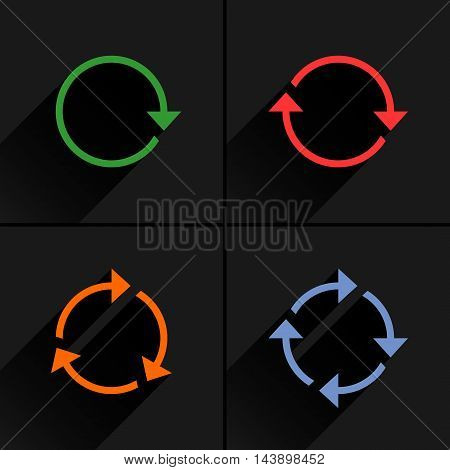 4 color arrow loop refresh reload rotation icon. Volume 01. Flat icon with black long shadow on gray background. Simple solid plain minimal style. Vector illustration web design elements 8 eps