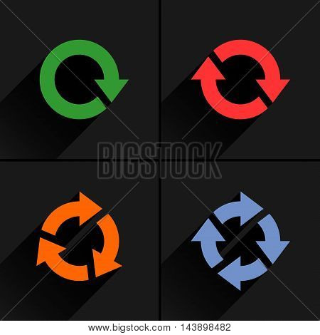 4 color arrow loop refresh reload rotation icon. Volume 03. Flat icon with black long shadow on gray background. Simple solid plain minimal style. Vector illustration web design elements 8 eps