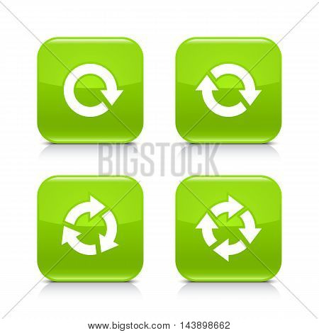 4 arrow icon. White rotation repeat refresh reload sign. Set 03. Green rounded square button with gray reflection black shadow on white background. Vector illustration web design element in 8 eps