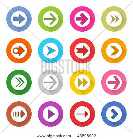 16 arrow icon set 01 white sign on color . Web button on white background. Simple minimalistic mono flat long shadow style. Vector illustration internet design graphic element 10 eps