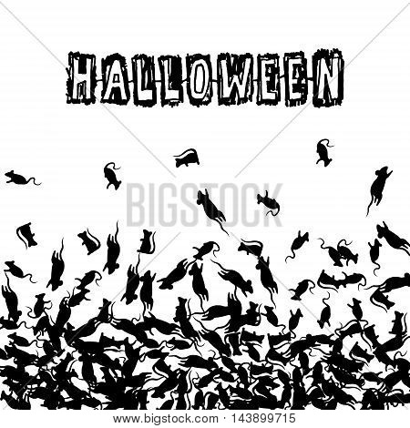 Halloween banner with black rats and scratch text. Vector background.