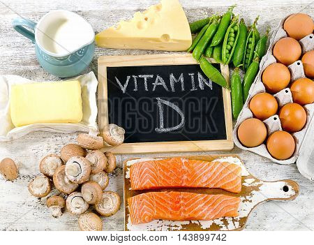 Foods Rich In Vitamin D. Healthy Eating Concept.