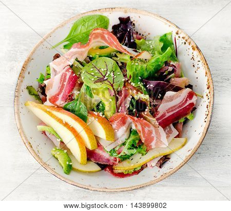 Fresh Mixed Salad With Pancetta And Pear.
