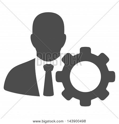 Serviceman icon. Vector style is flat iconic symbol with rounded angles, gray color, white background.