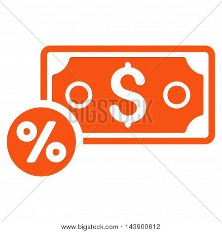 Banknote Percent icon. Vector style is flat iconic symbol with rounded angles, orange color, white background.