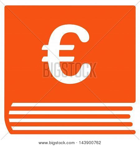 Euro Sales Book icon. Vector style is flat iconic symbol with rounded angles, orange color, white background.
