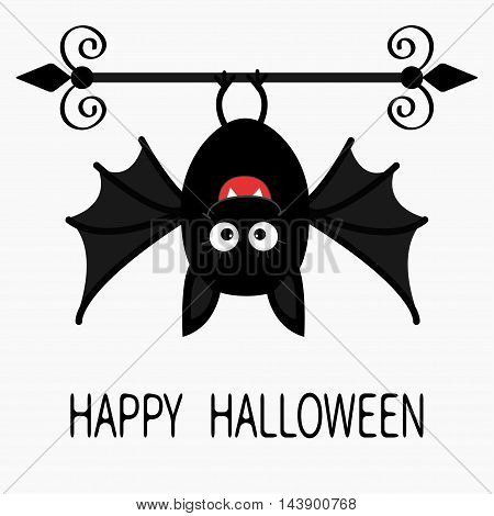 Happy Halloween card. Cute cartoon hanging bat. Animal character. Baby illustration collection. Flat design. White background. Vector illustration