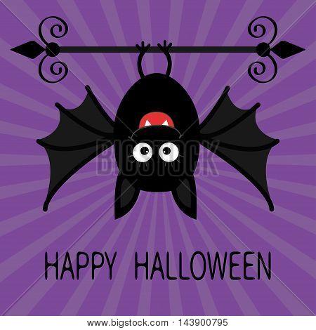 Happy Halloween card. Cute cartoon hanging bat. Animal character. Baby illustration collection. Flat design. Violet sunburst starburst background. Vector illustration
