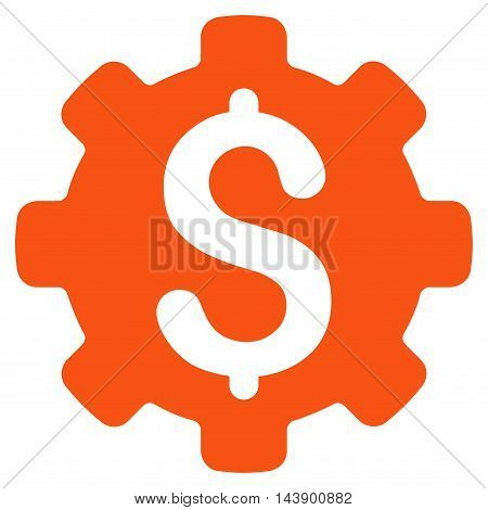 Industrial Capital icon. Vector style is flat iconic symbol with rounded angles, orange color, white background.