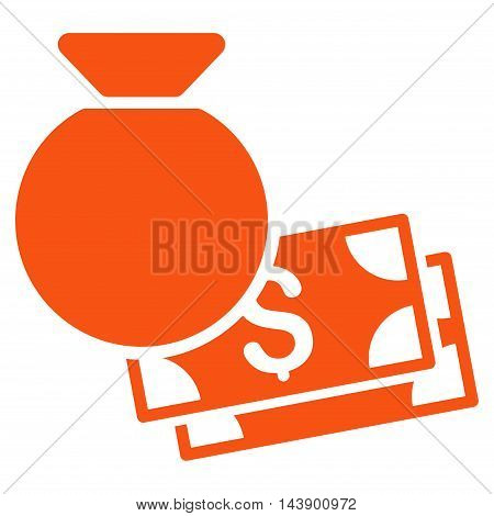 Money Bag icon. Vector style is flat iconic symbol with rounded angles, orange color, white background.