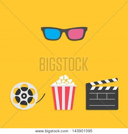 3D glasses Movie reel Open clapper board Popcorn Cinema icon set. Flat design style. Yellow background. Vector illustration