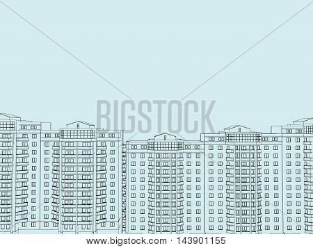Contour houses. Background with the contour of apartment buildings of the city. Vector illustration.