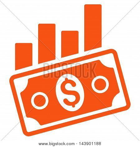 Sales Bar Chart icon. Vector style is flat iconic symbol with rounded angles, orange color, white background.