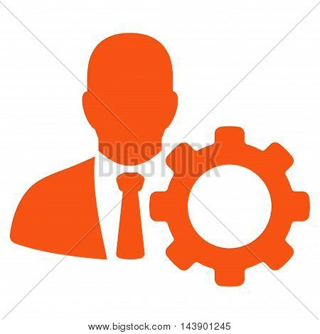 Serviceman icon. Vector style is flat iconic symbol with rounded angles, orange color, white background.
