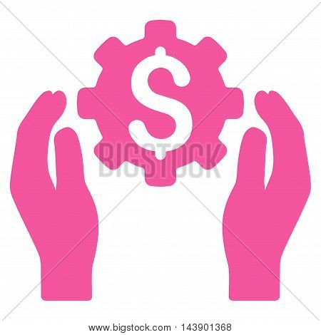 Banking Maintenance Hands icon. Vector style is flat iconic symbol with rounded angles, pink color, white background.
